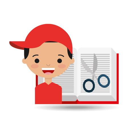 openness: cute boy book open scissors vector illustration Illustration
