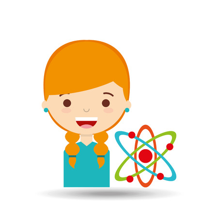 beautiful girl blonde student chemistry vector illustration