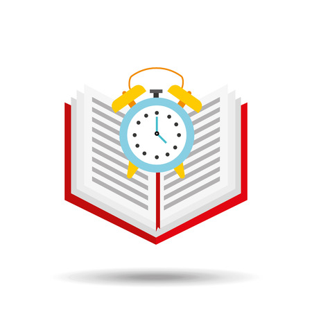 book school open and clock vector illustration eps 10