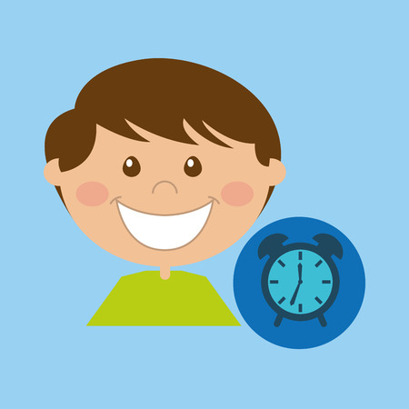 boy cartoon school clock icon design vector
