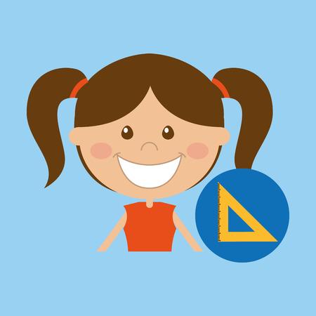 happy girl student school squad icon vector