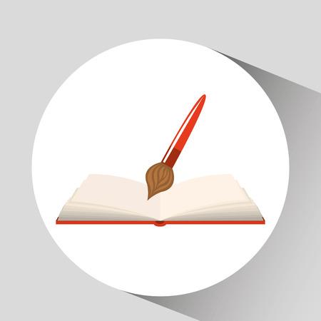 book open paint brush concept school graphic vector
