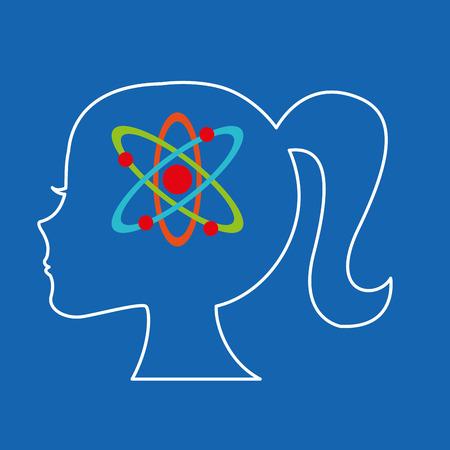 pedagogy: silhouette head girl student chemistry vector
