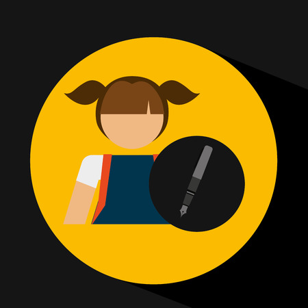 girl uniform school pen icon vector illustration