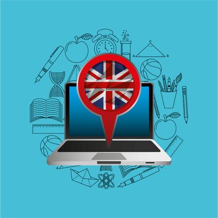 wiki: online education london graphic vector illustration