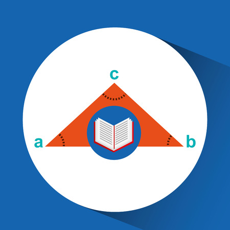 teorema: book school open and triangle geometric vector illustration Vectores