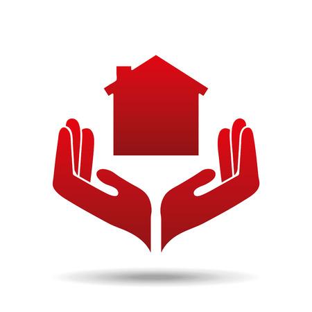 Ilustración de vector de icono de protección de casa seguro