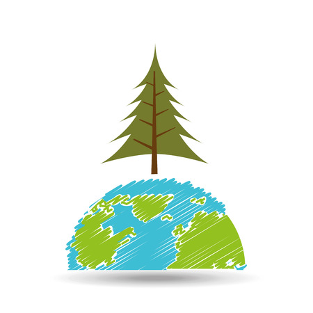 planet earth ecology pine tree icon vector illustration Illustration