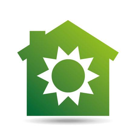 green ecology sun warming symbol design vector Illustration