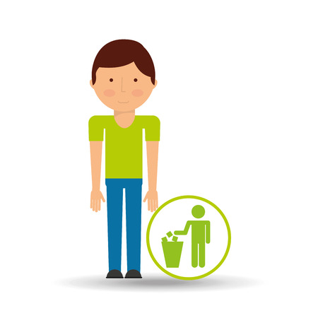 together voluntary: boy cartoon save earth. garbage trash can icon vector Illustration