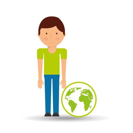 green globe: environment icon boy with green globe vector Illustration