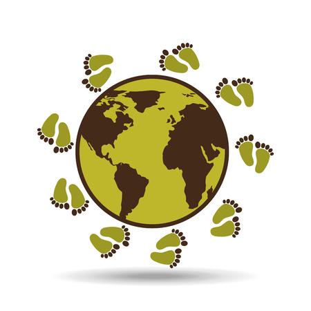 map earth environment ecological green footprints vector illustration