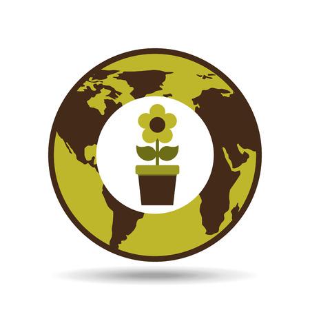 map earth environment ecological green flower flora vector illustration
