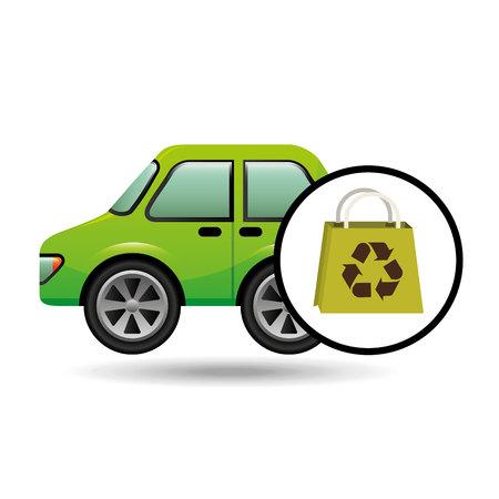 basura organica: eco coche bolsa tienda icono entorno ilustración vectorial Vectores