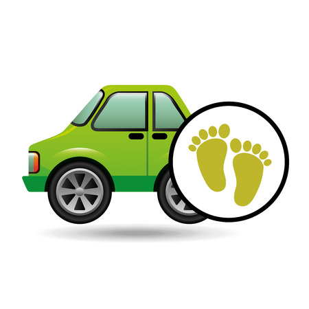 green ecology car footprint concept vector illustration
