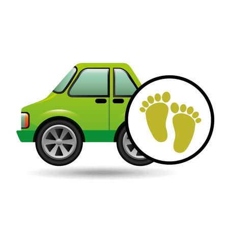 green ecology car footprint concept vector illustration