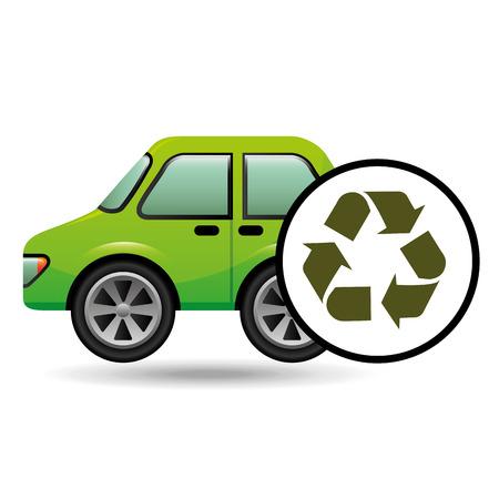 eco car icon environment recycle symbol vector