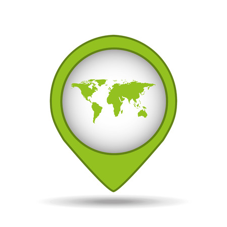 map pin green world icon vector illustration