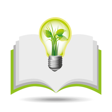 graphic icon: eco book environment bulb plant graphic vector