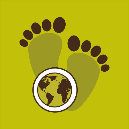 map earth environment ecological green footprints Illustration