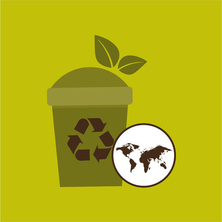 world recycling trash can design graphic vector