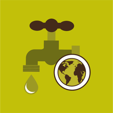 map earth environment ecological green tap water vector Illustration