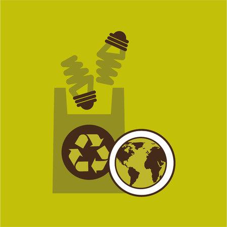 green bulb: map earth environment ecological green bulb bag vector