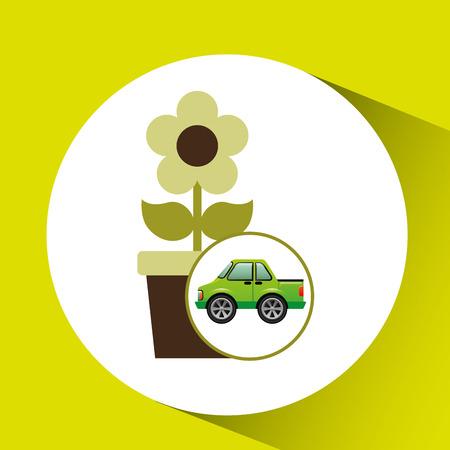 green ecology car flower concept vector illustration Illustration