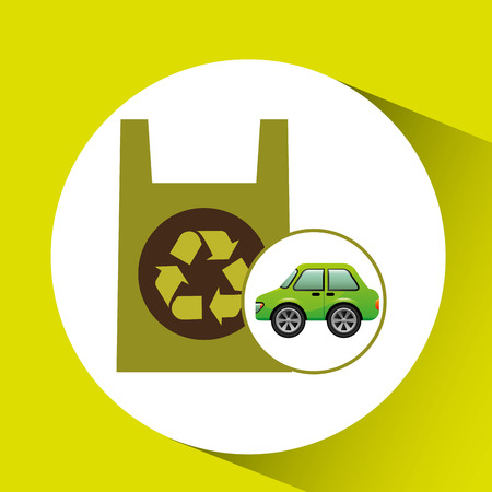 plastic bag: eco car icon environment plastic bag vector Illustration