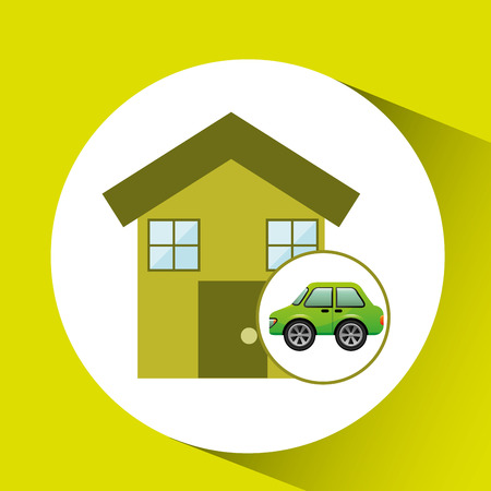 eco car house icon environment vector illustration Illustration
