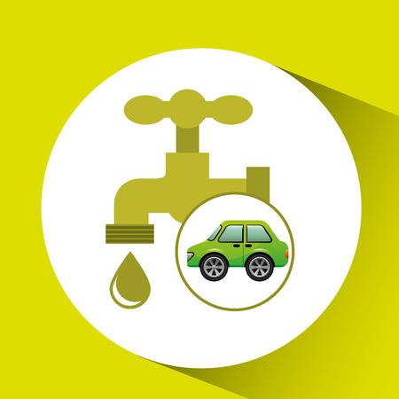 eco car icon environment water vector illustration Illustration