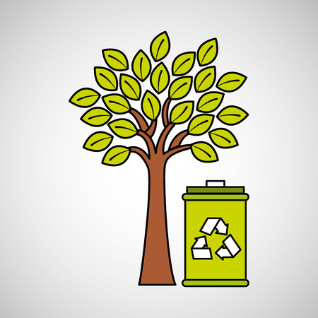 trash can recycle and tree icon design vector illustration eps 10