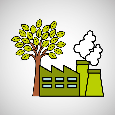 factory ecology tree environment graphic vector illustration
