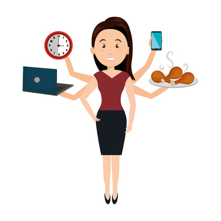 busy person: very busy person character vector illustration design
