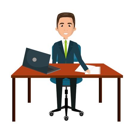 zakenmankarakter die in het ontwerp van de bureau vectorillustratie werken