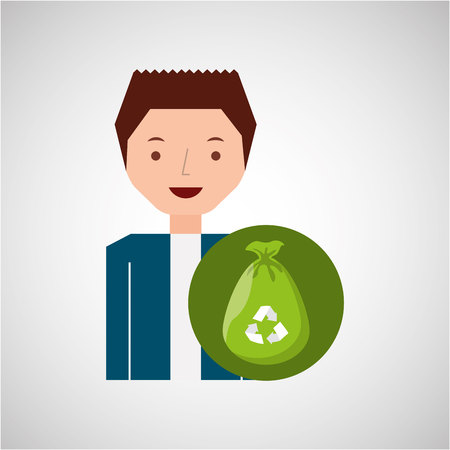 plastic bag: cute boy recycle ecology icon plastic bag trash vector illustration Illustration