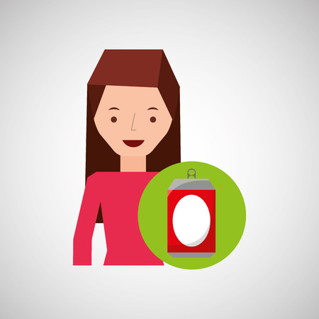 girl cartoon recycle icon can vector illustration