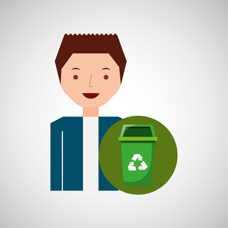 hazardous waste: cute boy recycle ecology icon trash can vector illustration