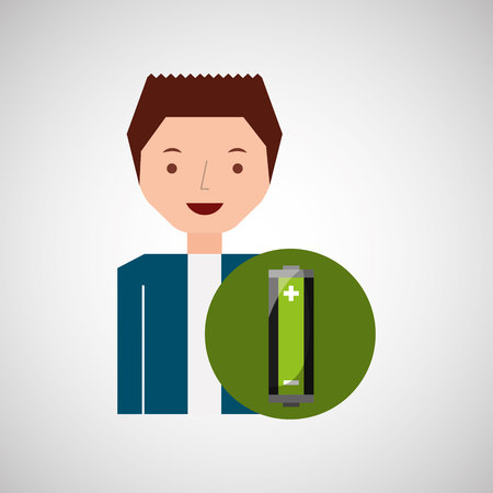 boy recycle ecology icon battery vector illustration
