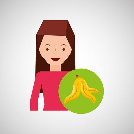 girl cartoon recycle icon garbage organic vector illustration