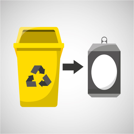 food waste: trash yellow can icon recycle vector illustration