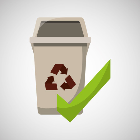 recycled trash can ok icon vector illustration Illustration