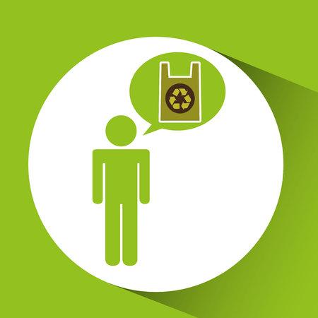 go to store: symbol recycle plastic bag design vector illustration