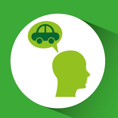 hauling: eco silhouette green head vehicle vector illustration Illustration