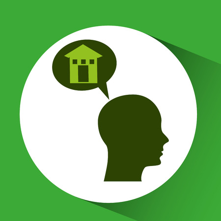 concept environment house silhouette head vector illustration