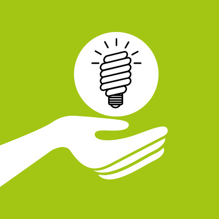 hands together environment bulb energy concept vector illustration