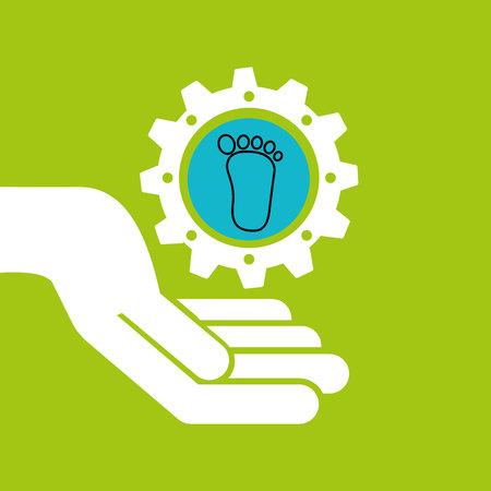 symbol environment gear footprint vector illustration Illustration