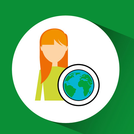 girl concept ecological globe vector illustration