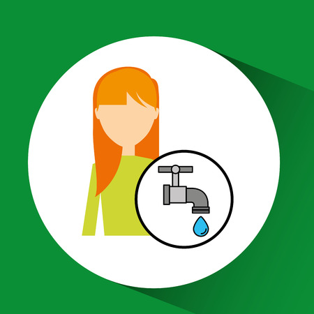 girl concept ecological drop water vector illustration