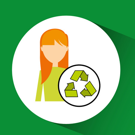girl concept ecological recycle vector illustration Illustration